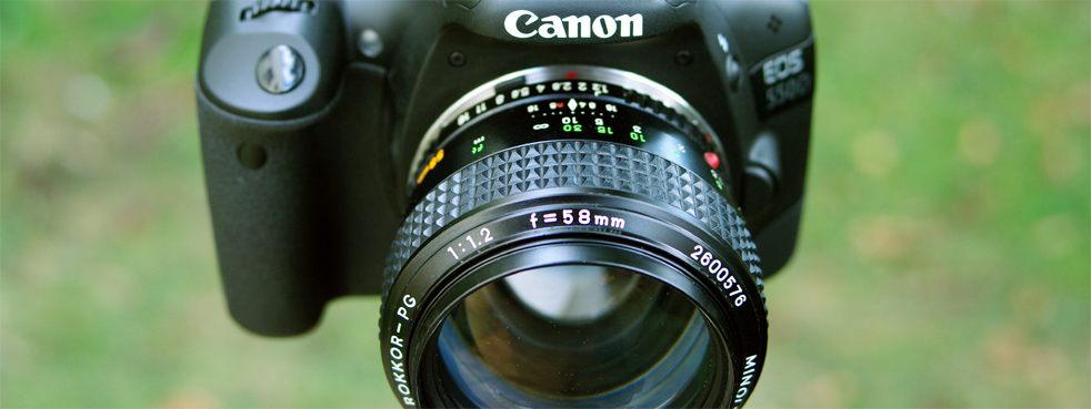 Rokkor lens on Canon cameras